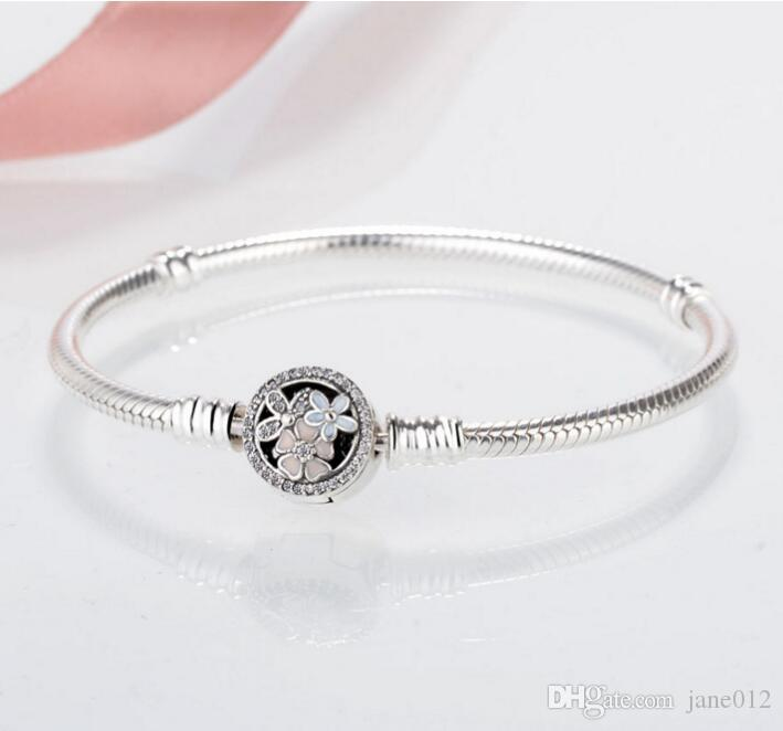 Yılan Zincir Pandora Bilezik için 925 Gümüş Kiraz Çiçeği Kilit Kapat Charm Bileklik Bileklik fit Avrupa Boncuk Kadınlar Takı