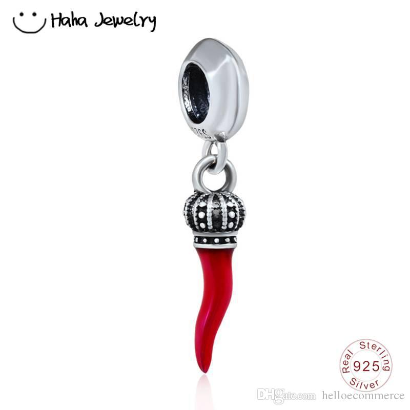 Acheter Haha Bijoux Dangle Corno Charme Perle De Corne Démail Rouge Italien  925 Perles De Poivre En Argent Sterling Pour Pandora Charms Bracelet ...