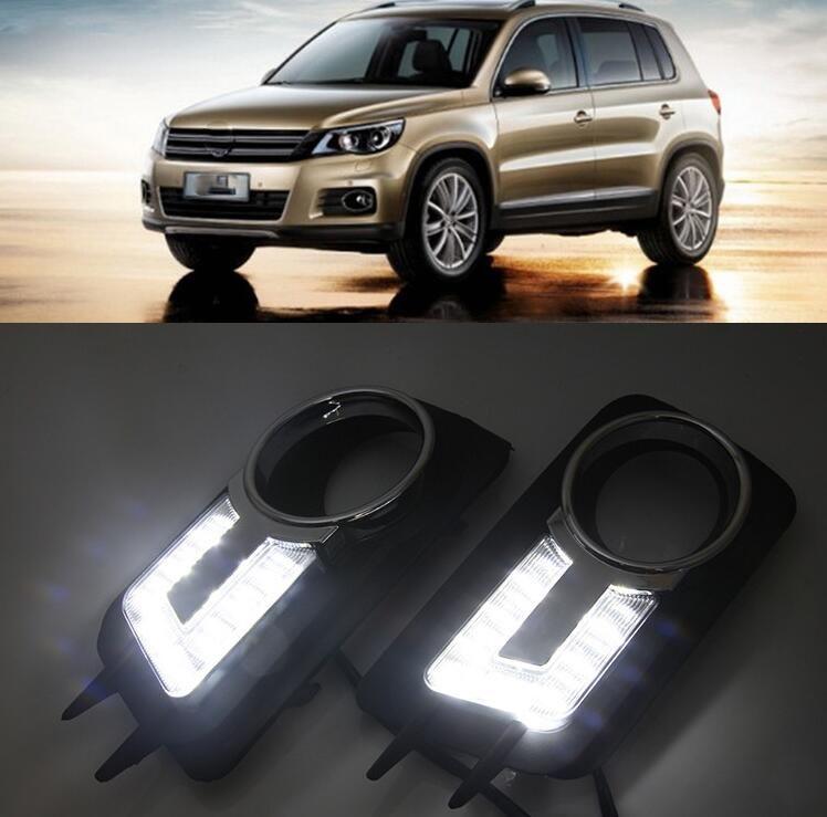 1pair DRL for Volkswagen VW Tiguan 2012 2010 2011 غطاء مصباح الضباب أثناء النهار
