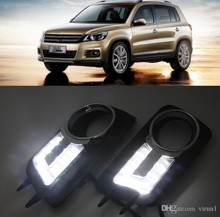 1 pair drl for volkswagen vw tiguan 2017 2010 2011 النيار تشغيل أضواء الضباب رئيس مصباح غطاء