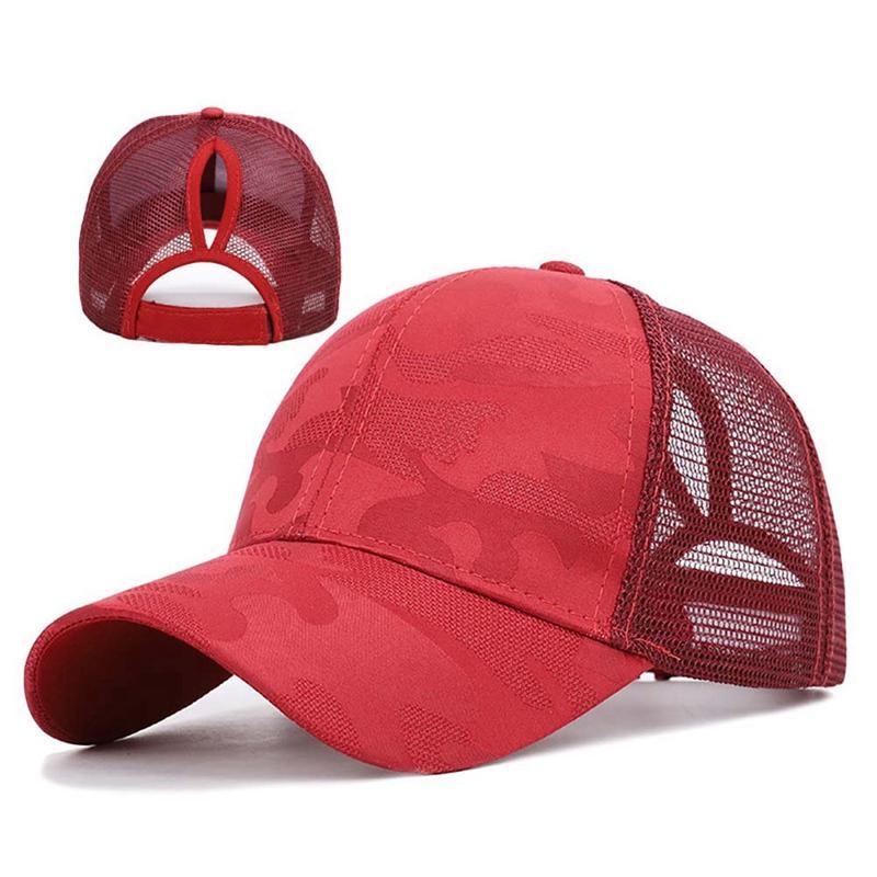 ظلة تنفس القطن قبعة بيسبول ذيل حصان الرياضة في الهواء الطلق قابل للتعديل مرة أخرى إغلاق قبعة دون CC مارك