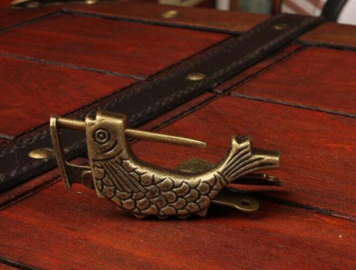 Çin Vintage Asma Kilit Balık Şekli Kilit Notebook Bagaj Antik Asma Kilit ile Anahtar Bavul Kilitleri Donanım