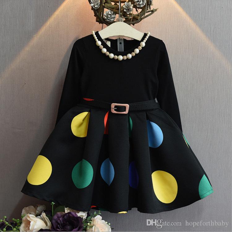 2019ins Spring Autumn New Style Girls Polka Dot Belt Stitching Children's Black Dress Children's Clothing Wholesale