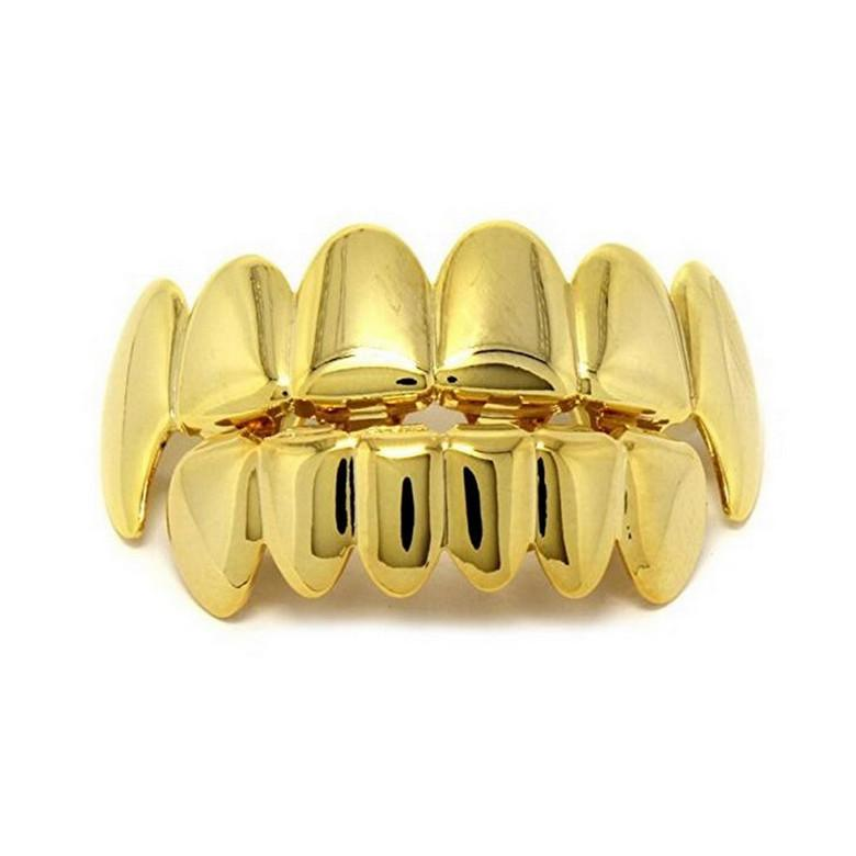 Zähne Grillz Schmuck Unisex Mode 18 Karat vergoldet Körper Schmuck Großhandel Hip Hop Umwelt Kupfer Zähne Zahnspangen 2-teilig Set LP018