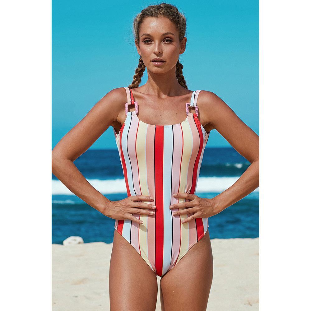 progettista delle donne sexy di un pezzo del costume da bagno spiaggia vestito triangolo turistico di nuoto di colore solido