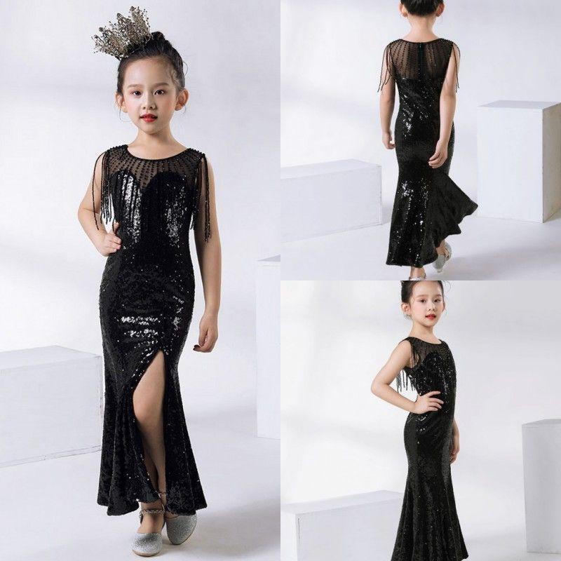 2020 милые дети формальный носить черные блестки цветок девушки платья для свадебных детей Пагенты платья бальное платье