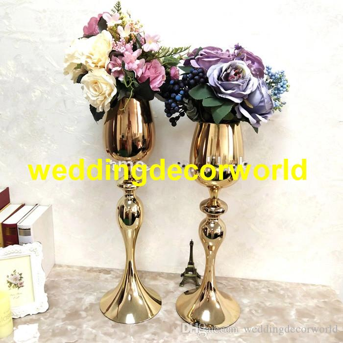 Large Stunning Tall Gold Iron Metal Luxury Vases For Urn Wedding Table Centrepiece decor414