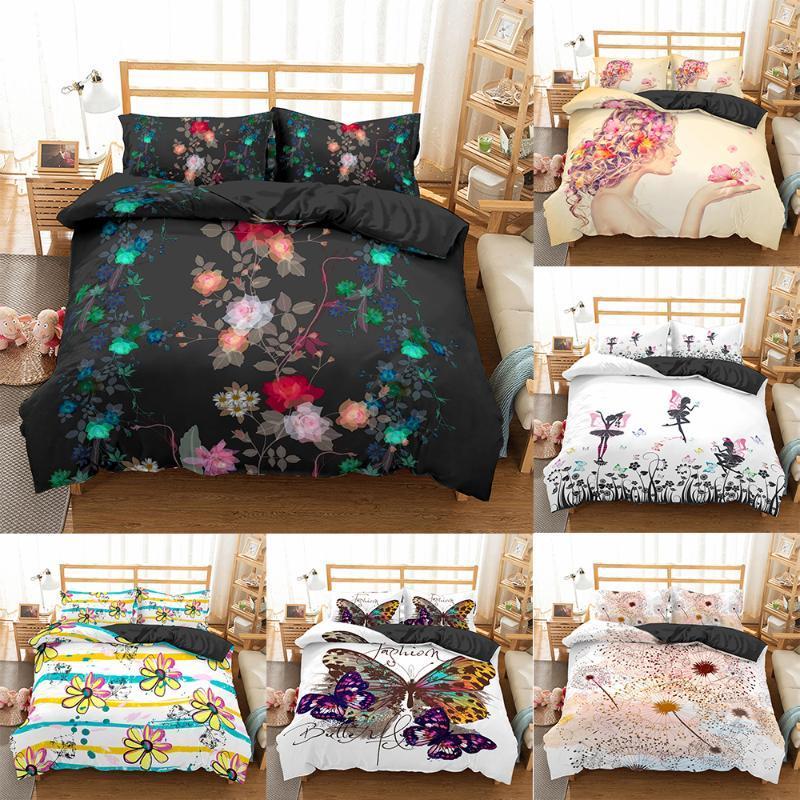 Homesky conjunto de cama King Size Flor colcha de impressão para meninas Individual Bed Tamanho linho Rainha edredon cobrir com Fronhas