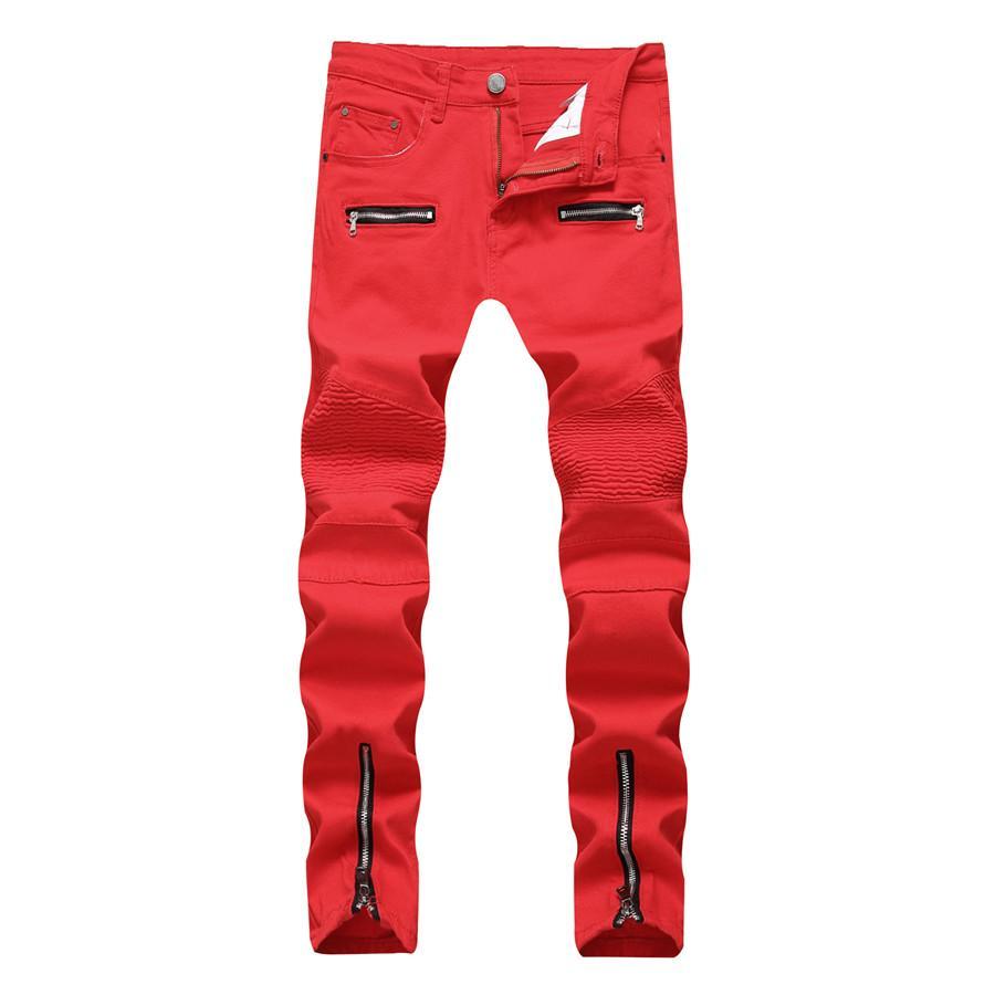 Nuovo Skinny Jeans Uomo Biker del motociclo stirata Cargo jeans del denim con cerniere a pieghe Slim Jean Uomini Plus Size 40 42 Pantaloni