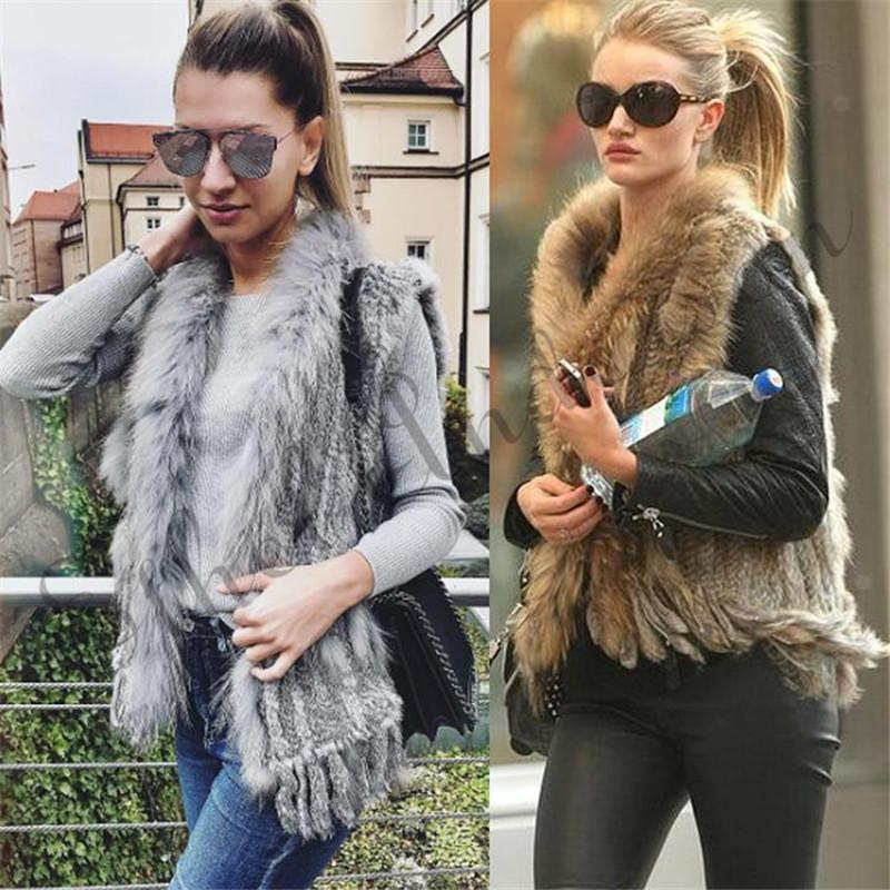 Natural Rabbit Fur Vest With Raccoon Fur Collar Party Waistcoat Jackets Knitted Gilets Women Wool Vest Colete De Pele De Coelho T3190614