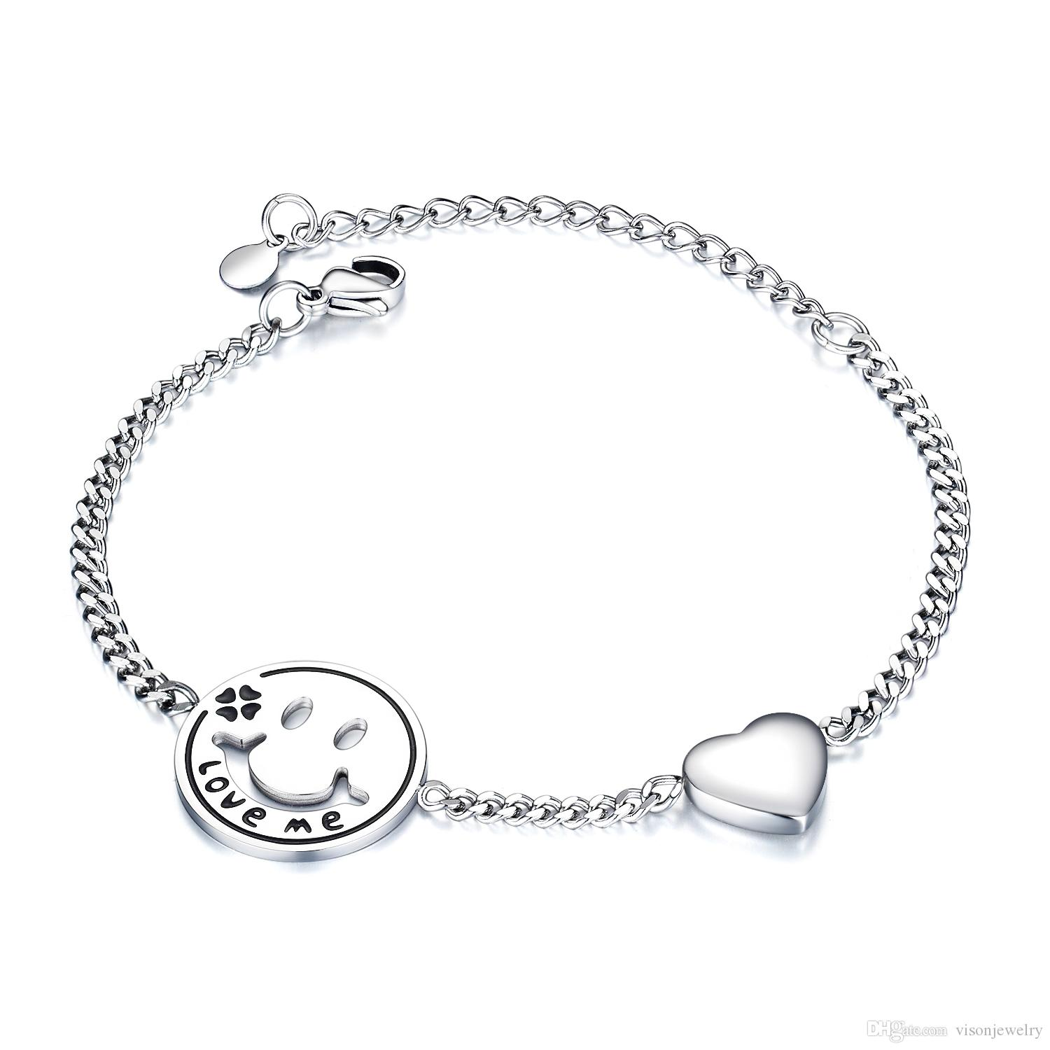 Delicate Bracelet Friend Gift Smile Face and Heart Charm Bracelet in Stainless Steel 170mm length + 50mm Extension Chain