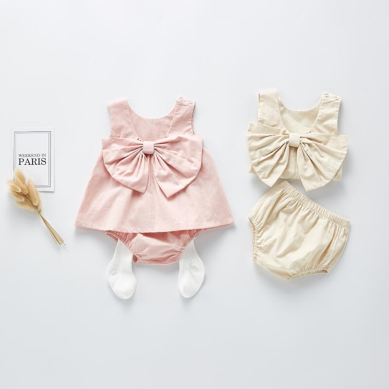 0-24M Baby Girls Summer Sleeveless Vest Blouse Infant Toddler Baby Girl Backless Bow Blouse+shorts Clothes Sunsuit Princess Set