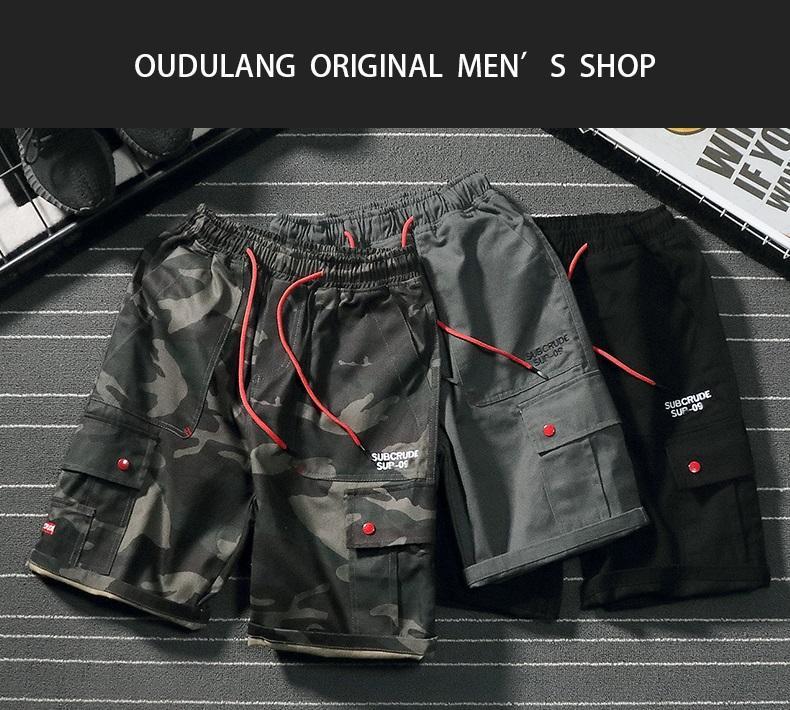 Harajuku marca maré BF bolso grande ferramental calções calções de cinco pontos dos homens estilo militar algodão camuflagem verão solta