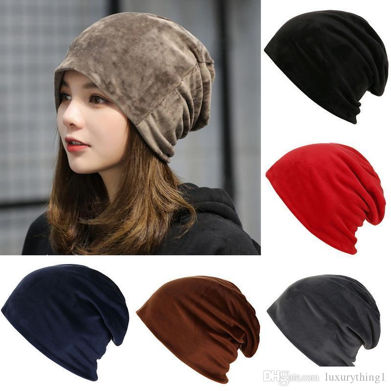HEFLASHOR 2019 Nova Moda Outono Quente malha velo dentro Slouchy Skullies Caps Mulheres Chapéus de Inverno