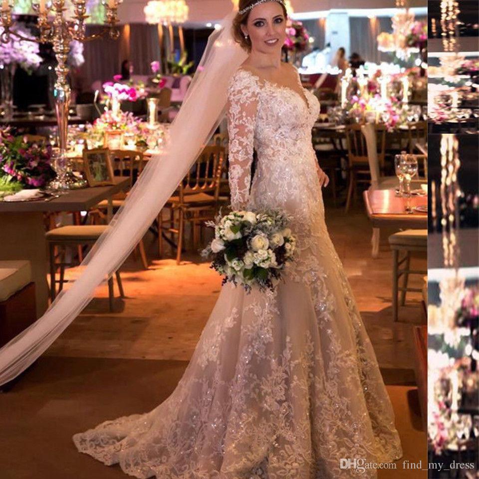 Luxuriöse 50er Jahre Vintage V-Ausschnitt lange Illusion Ärmel Kirche 2019 Kristall Perlen Spitze Brautkleider eine Linie wunderschöne Brautkleid hoher Qualität