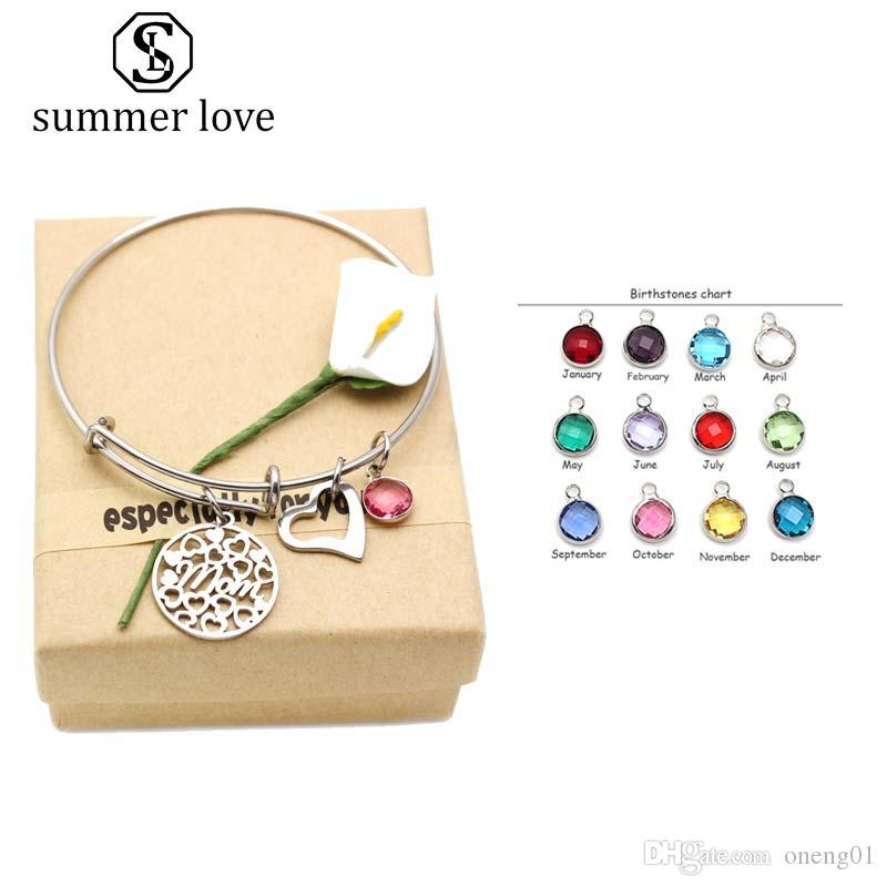 High Quality Stainless Steel Birthstone Heart Pendant Charm Bracelet for Mom Expandable Wire Women Bangle Fashion Jewelry Gift With Gift Box