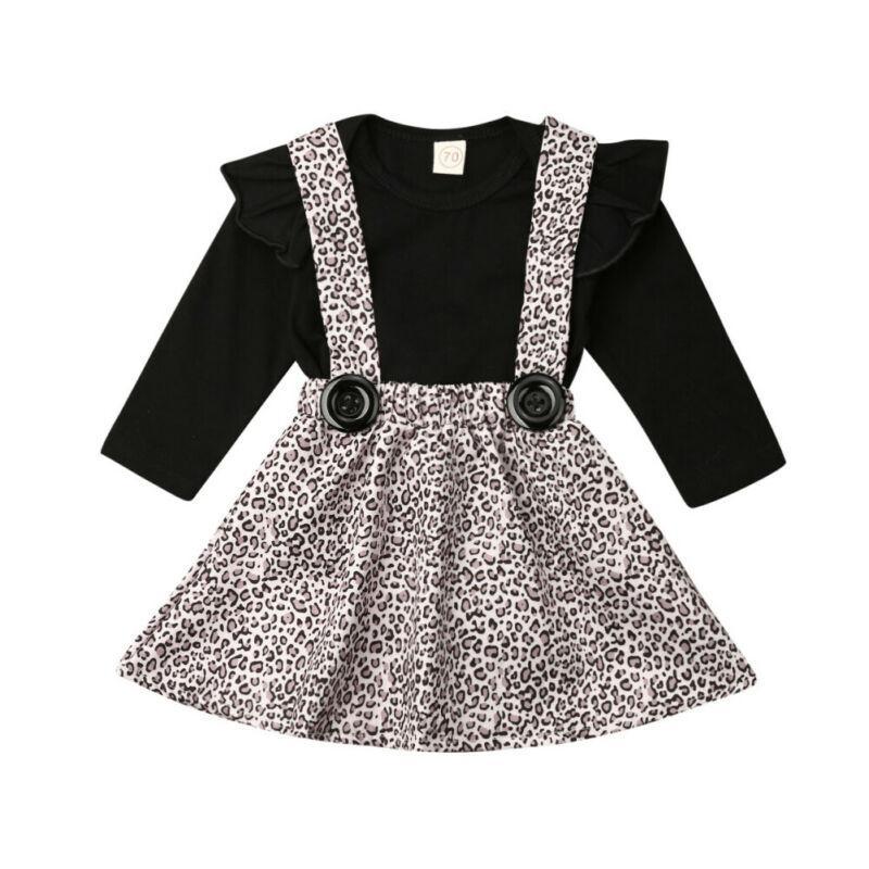 الخريف وتتسابق الوليد الرضيع فتاة الملابس الكشكشة كم طويل رومبير + ليوبارد طباعة الحمالة المريلة اللباس 2PCS مجموعة