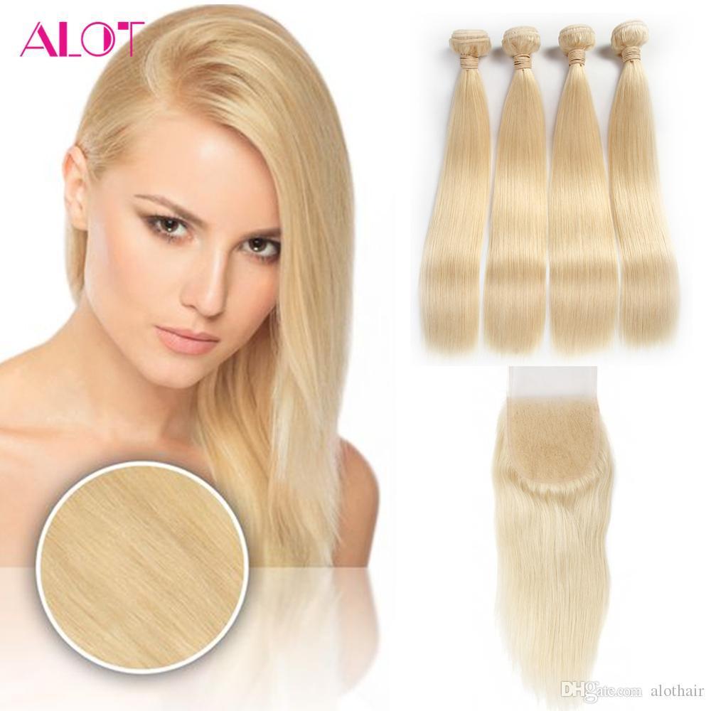HCDIVA Brasilianisches Menschenhaar Blonde 613 Glattes Reines Haar 4 Bündel Mit Verschluss Blonde Brasilianisches Menschenhaar Spinnt Mit 4 * 4 Spitze Verschluss