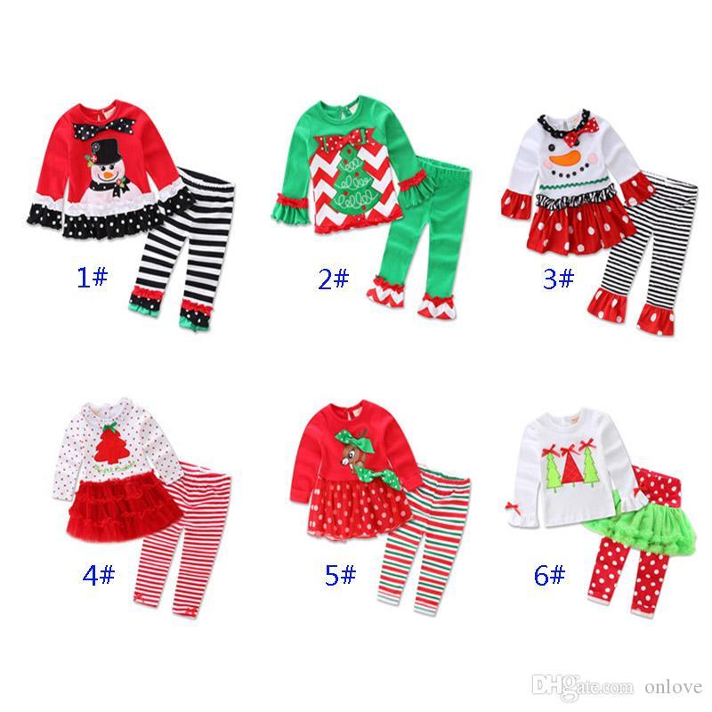 Рождество Дети Печатные Пижамы Наряды Для Санта-Клауса Xmas Tree Girl С Длинным Рукавом Рюшами Пижамы Набор Одеваются Одежда XD21066