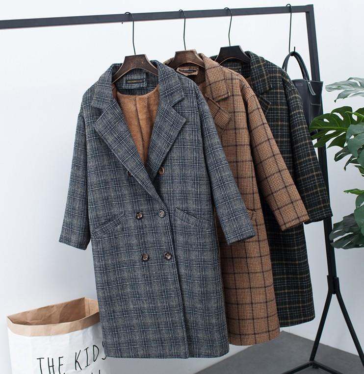 Nueva chaqueta de mezclas de lana gruesa de invierno estilo coreano femenino de imitación suelta de cachemir prendas de vestir exteriores abrigo de lana a cuadros de doble botonadura J53