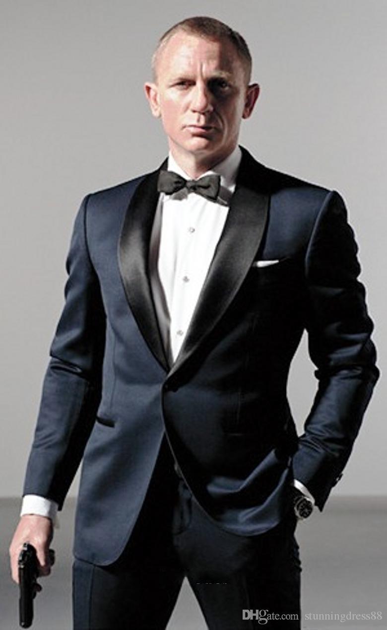 007 James Bond Dark Blue Jacket + smokings marié pantalon + Tie Mens Fashion Tux Smokings 2020 Blazer boyfriend Epoux Vêtements pour hommes Discours