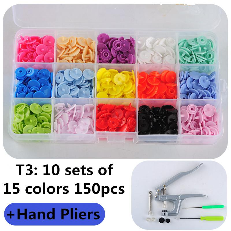 1Set Metal Press Pliers Tools Used for T3 T5 T8 Kam Button Fastener Snap Pliers+150 Set T3 Plastic Resin Press Stud Cloth Diaper