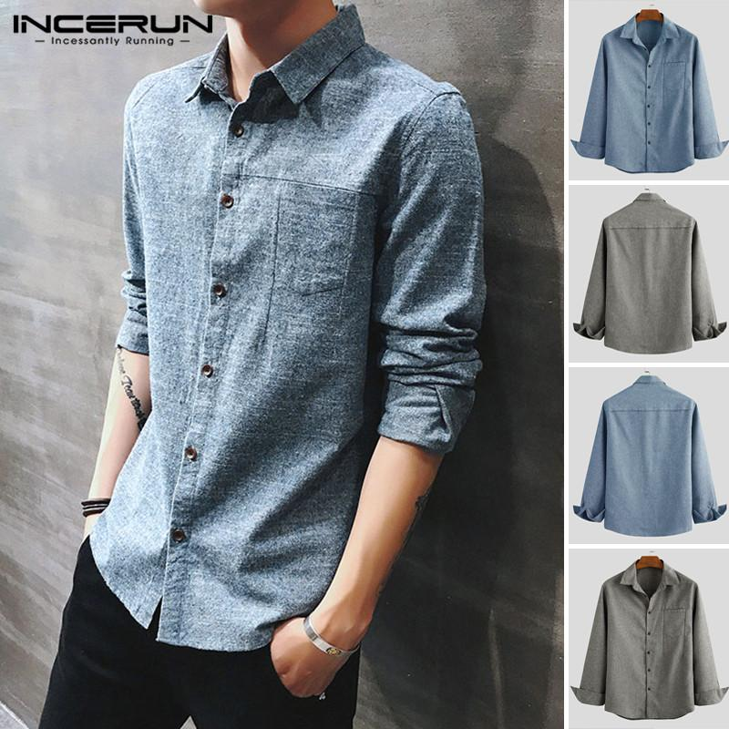 INCERUN 2020 Männer Langarm-Button-Solid Color Shirts Turn-down-Kragen schicke Blusen-beiläufige Geschäfts-Hemd Street Tops S-5XL