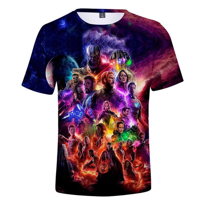 2019 En Yeni Stil Moda Tasarımı T gömlek erkekler kadınlar Avengers Son Oyun Thanos 3D Kısa Kollu Harajuku Stil Tişört U1694 Tops tişörtler yazdır