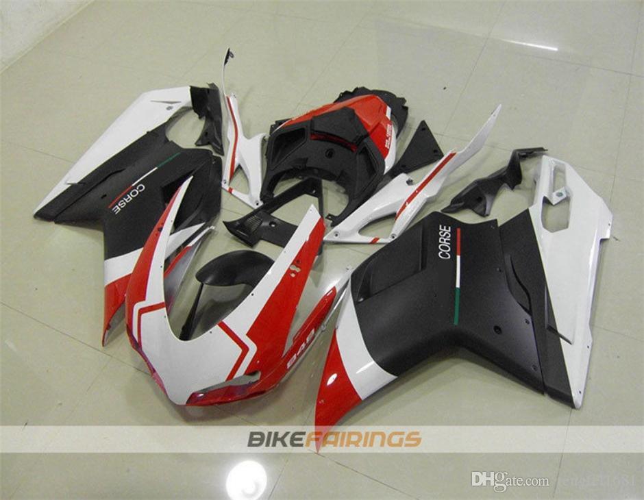 Die beste neue ABS Motorrad-Verkleidung-Kits für DUCATI 848 1098 1198 2007 2008 2009 2010 2011 2012 Karosserie-Kit Free Gewohnheits Rot Weiß Schwarz Matt