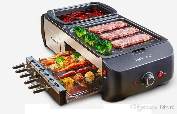 Hogares mokeless eléctrica horno olla de barbacoa cubierta de barbacoa máquina de kebab parrilla Shabu Shabu-olla caliente integrado pote 007