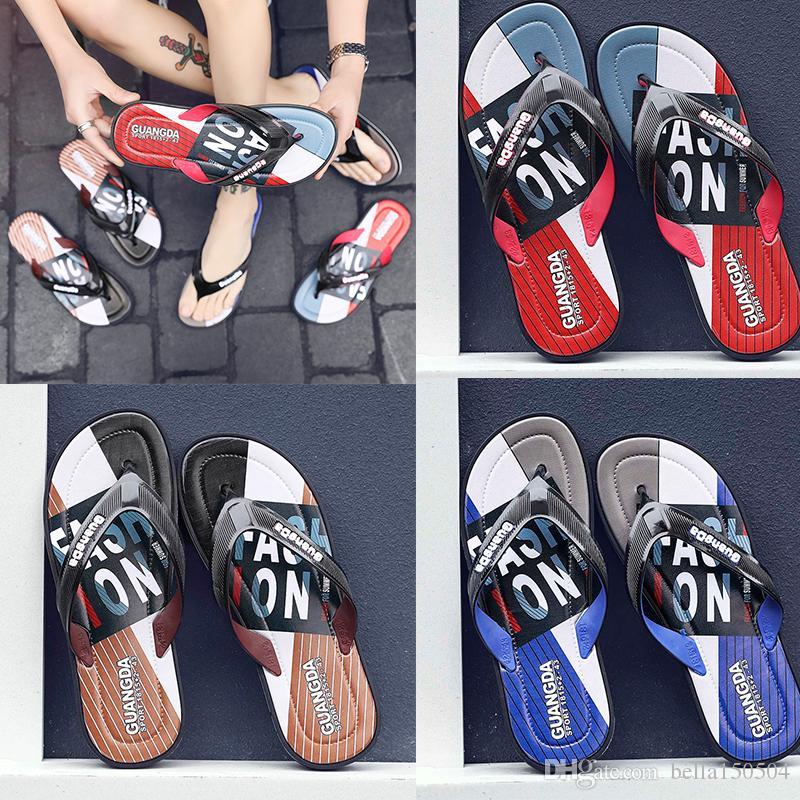 good quality Leisure Rubber Slide designers Sandal Slippers blue Red black Stripe Design Men Classic men Summer Outdoor beach Flip Flops