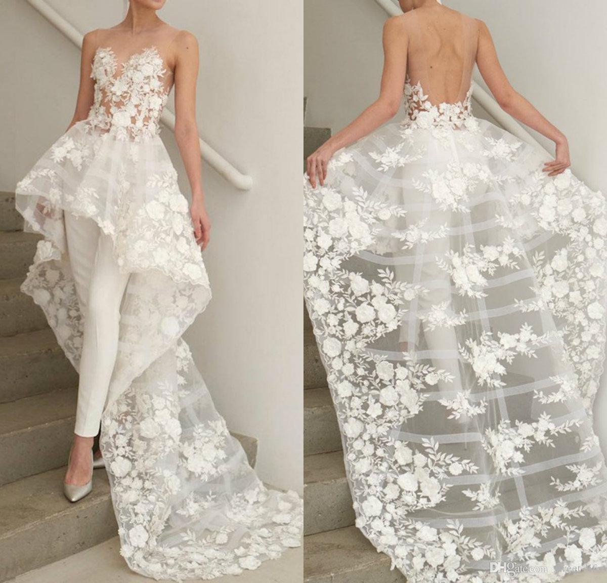 Chic Bohemian линия свадебные платья Sheer Jewel шеи кружева аппликация без спинки свадебное платье boho платье невесты без штанов