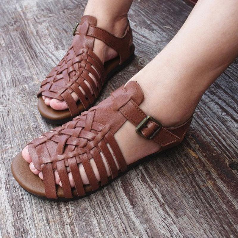 das mulheres Sandálias do verão Calçados 100% couro genuíno Gladiator Sandals Roma Ladies Plano Feminino Praia Shoes