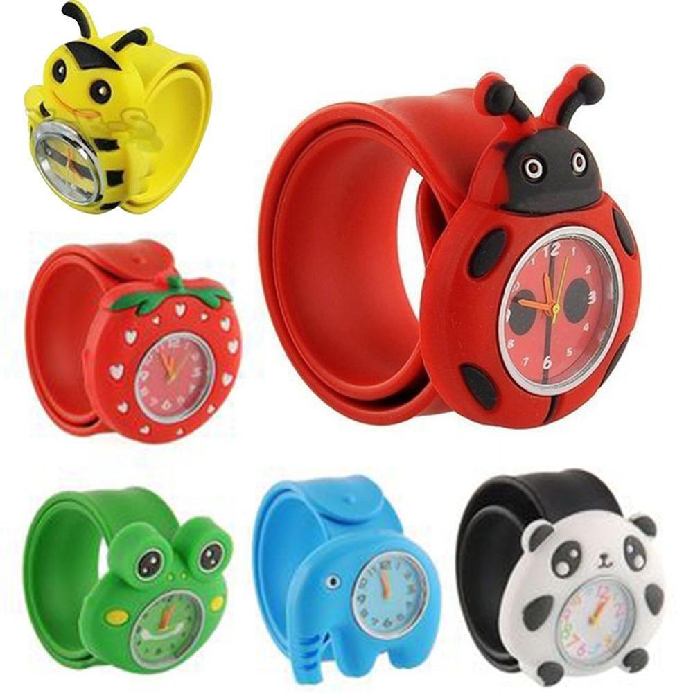 Dell'orologio dei bambini del fumetto animale sveglio di frutta Bambini silicone accarezzò Guarda Ragazza Ragazzo giocattolo preferito del quarzo della vigilanza di Natale regalo di compleanno XdgKj