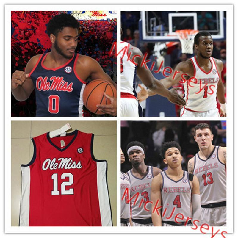 Mens Custom Ole Miss Rebels Basketball Jerseys Markel Crawford Justas Furmanavicius Blake Hinson D.C. Davis Dominik Olejniczak Jersey