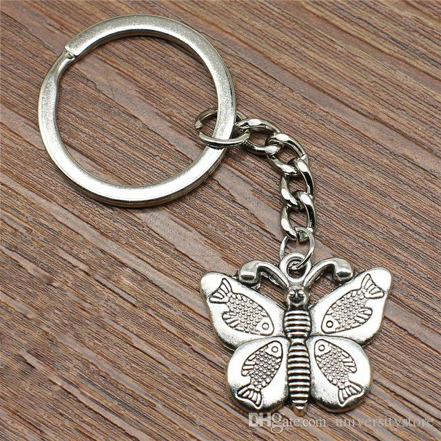 Брелок Fish Wings Butterfly Брелок 27x22 мм Античное Серебро Новая Мода Металлическая Брелок Ручной Работы Сувенирные Подарки Для Женщин