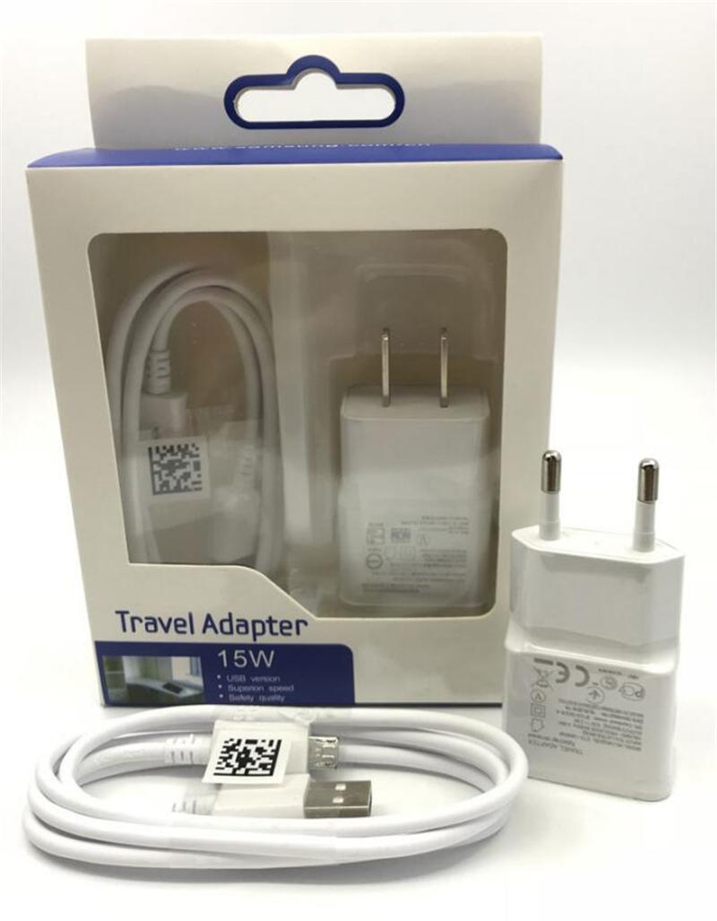 2 em 1 carregador Kit 5V 2A S7 carregador de parede Travel Adapter com 1m de carregamento rápido Micro cabo de dados USB Sync Cable com pacote de varejo