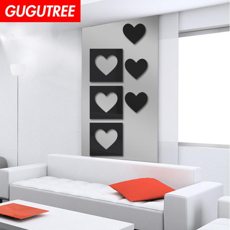 Decorate Home 3D love heart cartoon mirror art wall sticker decoration Decals mural painting Removable Decor Wallpaper G-233
