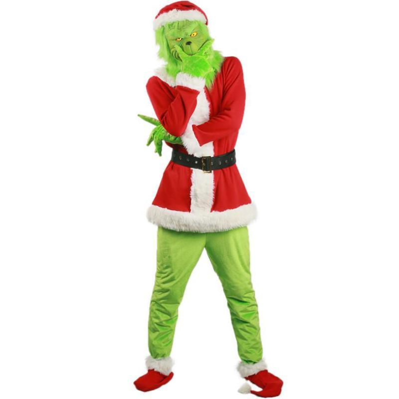 Halloween Grinch cosplay costume des hommes Parti Père Noël Costume Designer Homme 2PCS Vêtements Cosplay