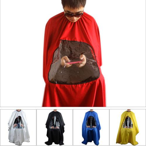 Brief Multifunction Pro Salon Barber Hair Cutting Gown Cape With Viewing Window Hairdresser Apron