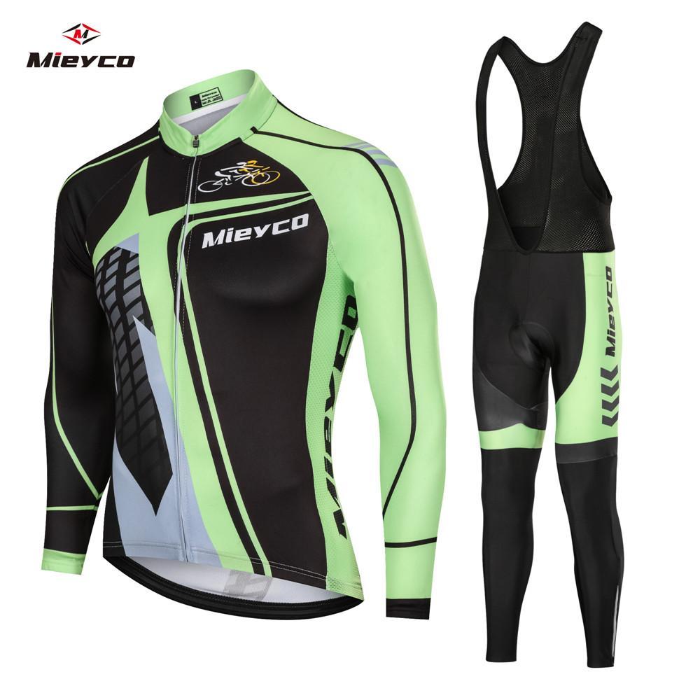 Coodoopai 2020 Auturmn Radfahren Kleidung Set Radfahren Jersey Pro Team Anzug Langarm Shirt ropa ciclismo Atmungs Trägerhose Anzug
