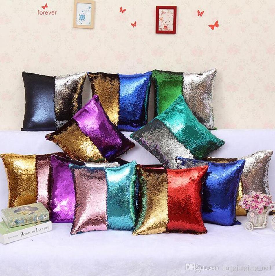 Sequins Mermaid Pillow Case 40*40cm Mermaid Glamour Cushion Cover Reversible Glitter Pillow Cover Magic Pillowslip 36 Colors LJJ_OA3387