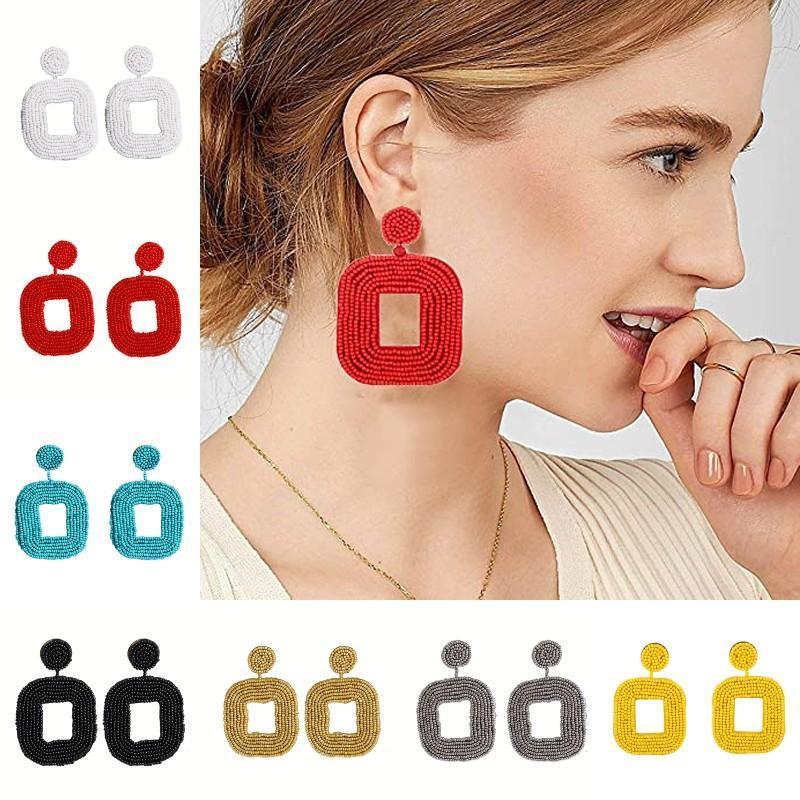 2020 nuovo quadrato Bead Orecchini per la Boemia delle donne modo di alta qualità ciondola fascino Rice borda l'orecchino Lady Dichiarazione monili dell'orecchino regalo