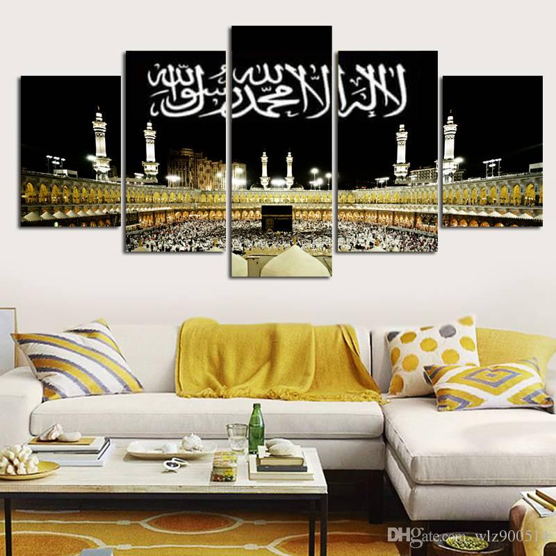 Kein Rahmen 5 Stücke Wandkunst Leinwanddruck Mekka Malerei Islamische Moschee Home Decor Bilder