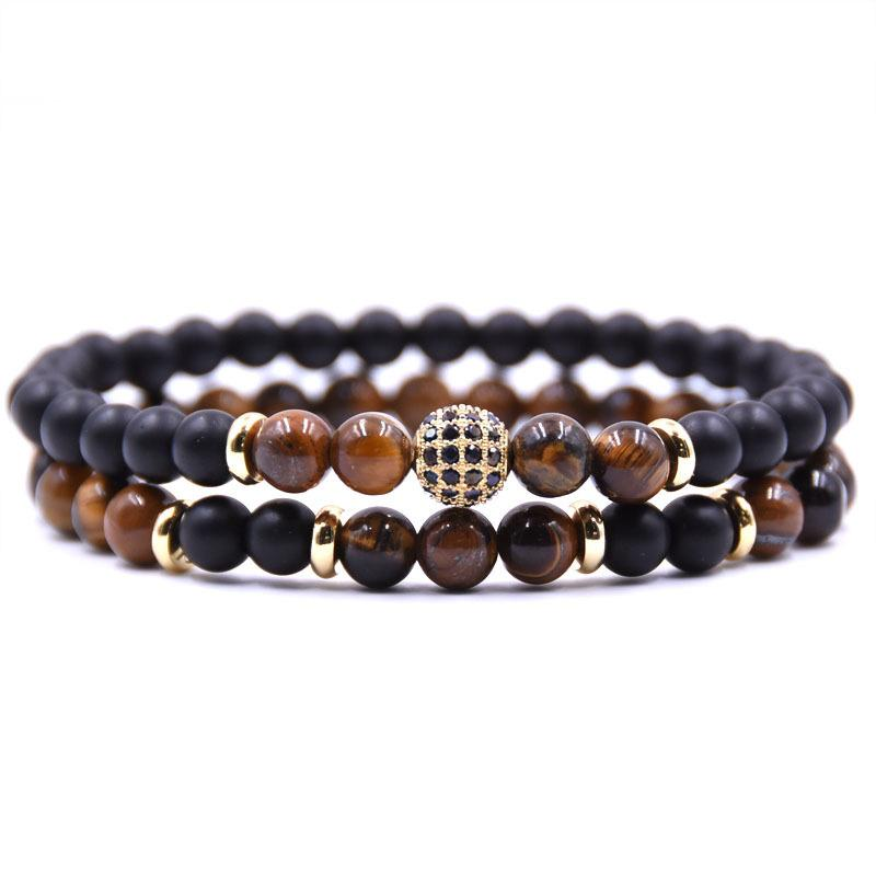2019 new fashion woman 2pc/sets Natural stone Bracelet men Micro Pave CZ 8mm Disco Ball Charms Bracelets viking bijoux