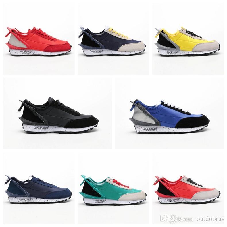 Yeni Tasarımcı UNDERCOVER x Waffle Racer Spor Koşu Ayakkabıları Yüksek kaliteli Erkek Eğitmenler için Siyah Sarı Mavi Rahat Sneakers