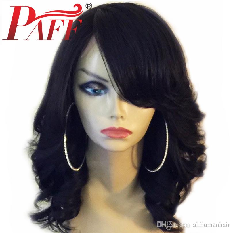 PAFF Loose Wave Lace Front Human Hair Wig With Bangs Peruvian Remy Hair Bleached Knots With Baby Hair