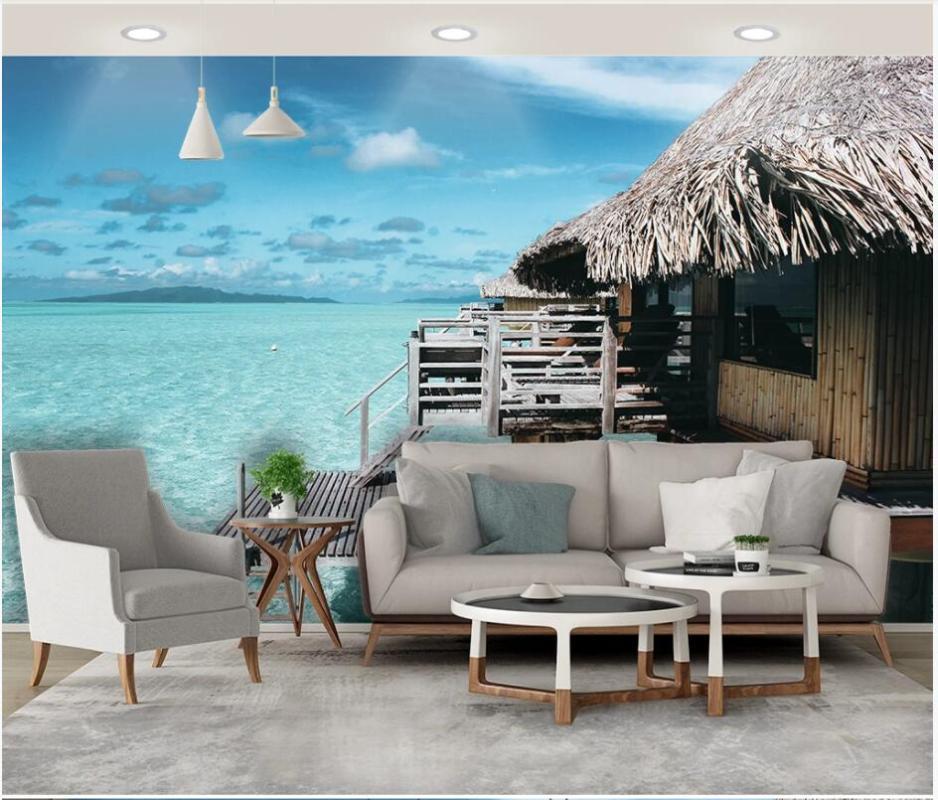 Gewohnheit Foto 3D Wallpaper Romantisches Meerblick Reetdachhaus auf dem Meer Hauptdekor 3D Wandmalereien Tapete für Wände 3 d