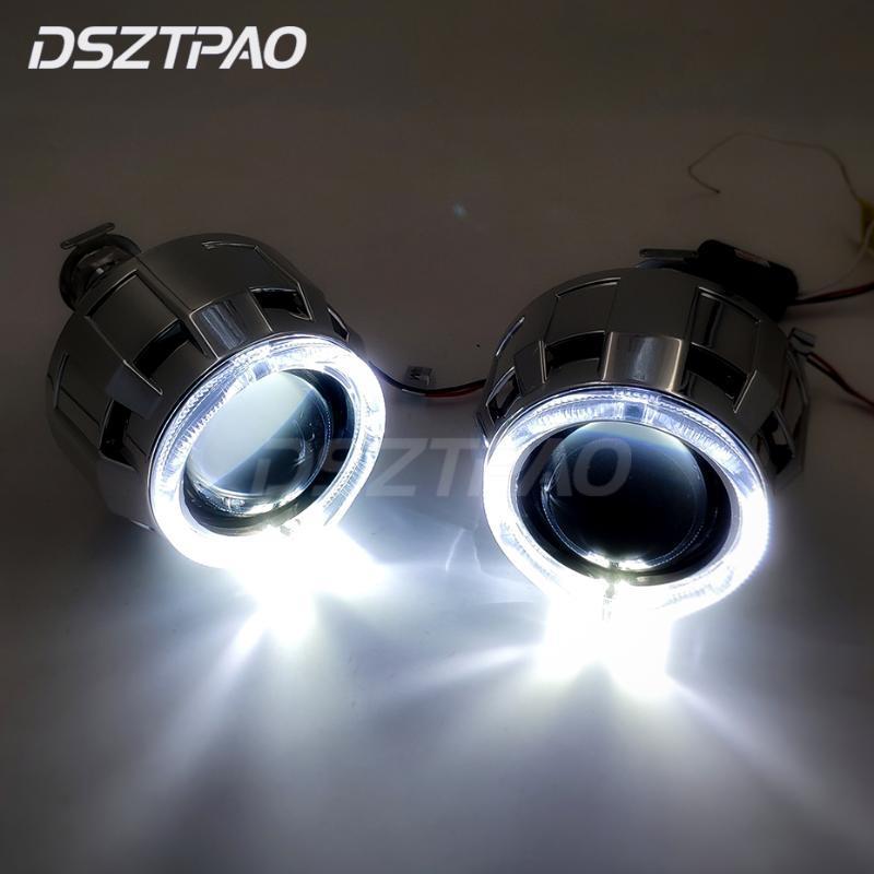 LED Angel Eyes Halos Bi xenon lente proyector faro para coche Retrofit DIY W/luces de circulación diurna 2,5 ''H4 H7 uso H1 xenón