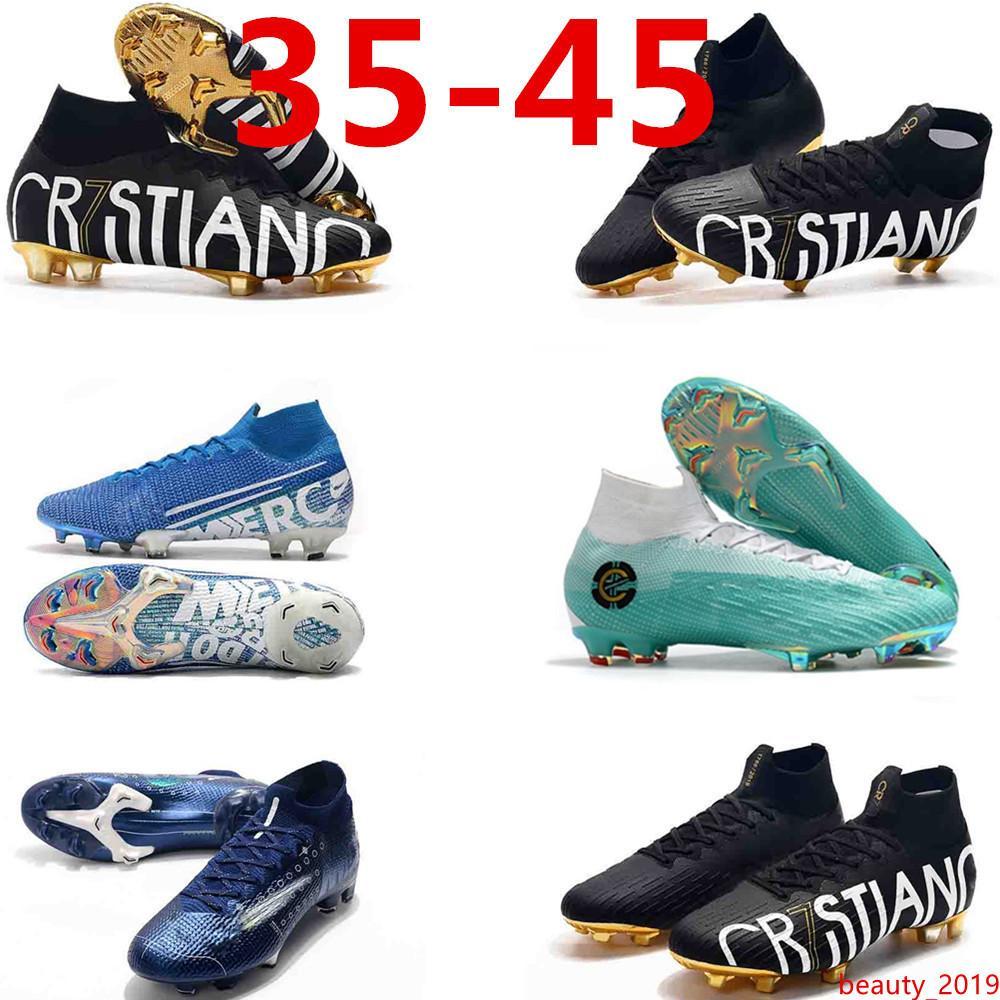7 Elite Mercurial Superfly chuteiras de futebol VI 360 Elite FG LVL UP KJ CR7 de Cristiano Ronaldo dos homens dos meninos do futebol do futebol Botas us3-11 Soccer Shoes